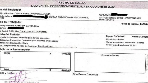Recibo salarial de la empleada doméstica de Victoria Donda, correspondiente a agosto de 2020.