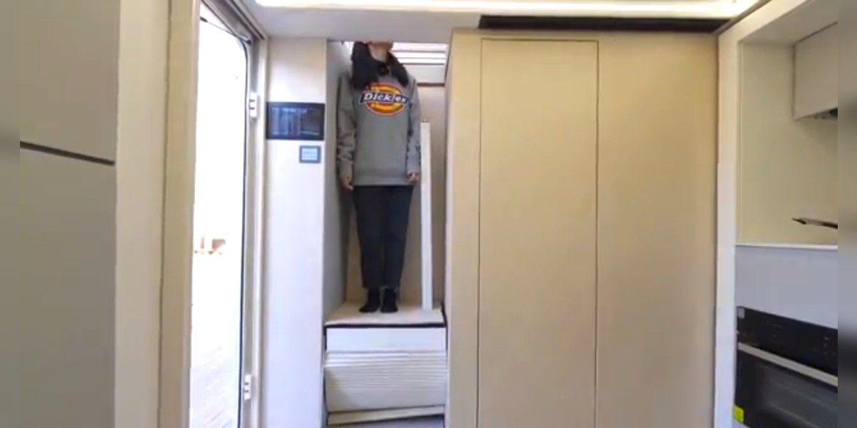 La casa rodante de lujo: tiene cocina completa, baño, ducha y hasta ascensor