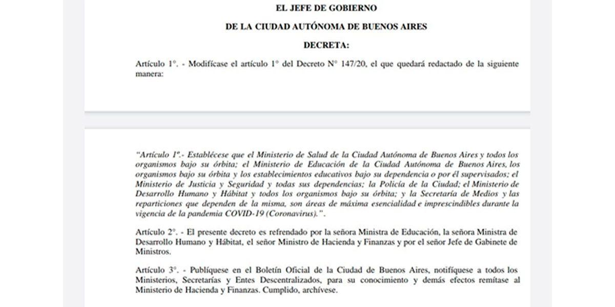 """Horacio Rodríguez Larreta decretó la educación como """"esencial"""" para evitar el cierre"""