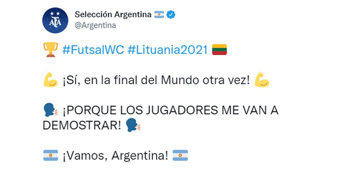 Argentina venció a Brasil y se convirtió en finalista del Mundial de Futsal